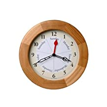 DayClocks Incorporated Contemporary Oak Day Clock, Light Brown