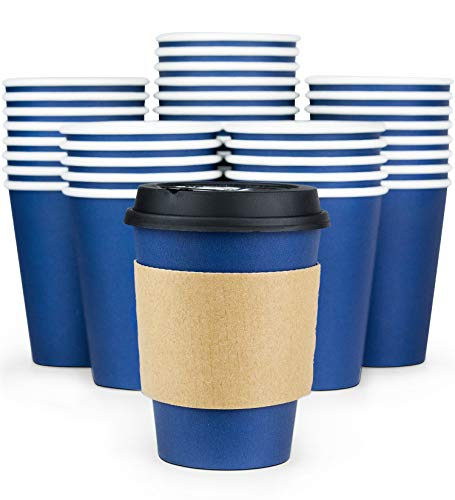 Glowcoast Disposable Coffee Cups With Lids - 12 oz To Go Coffee Cup (110 Pack). Large Travel Cups Hold Shape With Hot and Cold Drinks, No Leaks! Paper Cups with Insulated Sleeves Protect Fingers! -