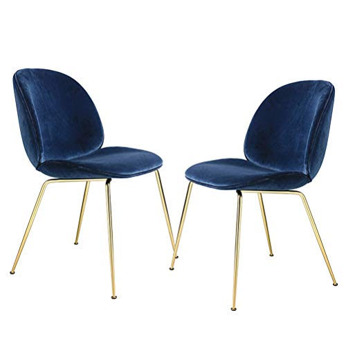 Mujula Accent Dining Room Chairs Strong Metal Legs Velvet Cushion Seat and Back for Kitchen Living Room Set of 2, Blue (Stool Round Vanity 18')