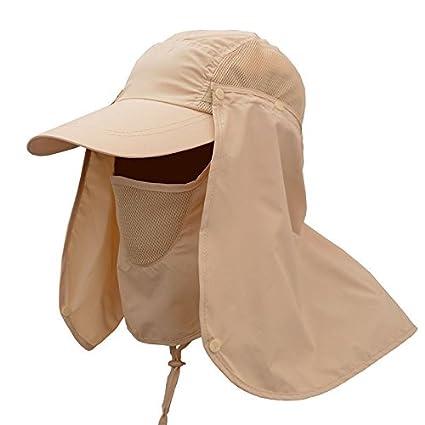 OurLeeme Pesca Senderismo de Protecciã³n Solar UV Sombrero al Aire Libre  Deporte Cuello de la Cara 2682d430283