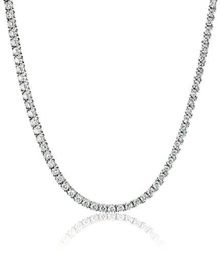 (IGI Certified 14k White Gold Diamond Tennis Necklace (7.00 cttw, H-I Color, I1 Clarity), 17