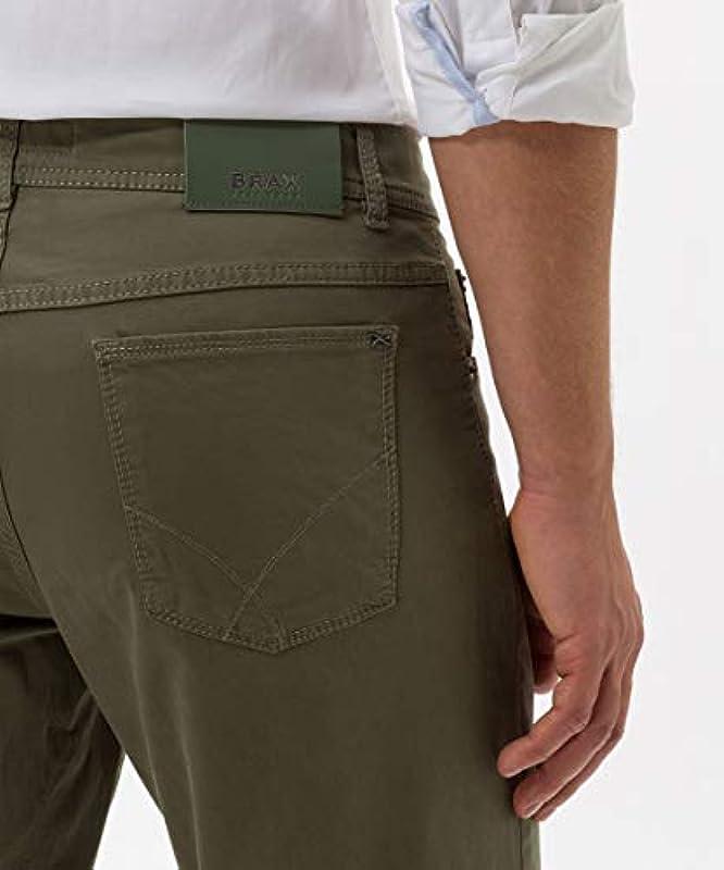 BRAX Męskie spodnie Cooper Fancy Marathon z płaskim splotem, zielone (wiosna 2020), 33 W / 36 l: Odzież
