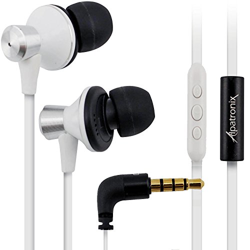 Alpatronix EX100 High Performance In-Ear Headphones with Built-in Mic / Tangle-Free Wired Headset Earbuds with 3-Button Volume Control for iPhone 5S, 5C, 5, 4S, 4 / iPad 4, 3, 2, 1, mini, air / iPod Touch, Nano, Shuffle and other Apple iOS Devices – White, Best Gadgets