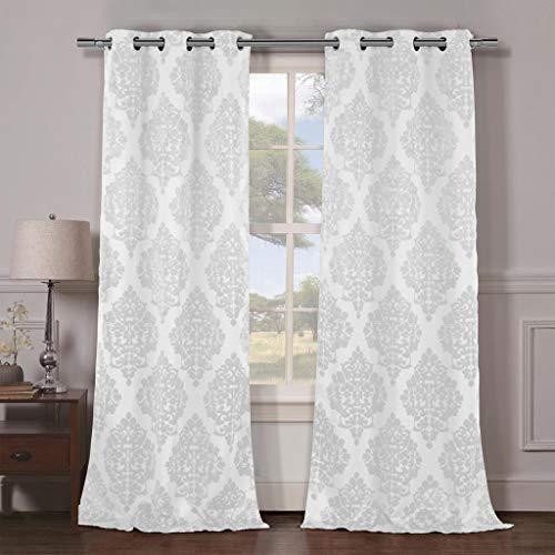 Blackout365 Catalina Heavy Medallion Blackout Window Curtain 2 Panels, 36 x 96, White