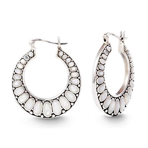 Willowbird Mother of Pearl Beaded Tribal Hoop Earrings for Women In Oxidized 925 Sterling Silver -