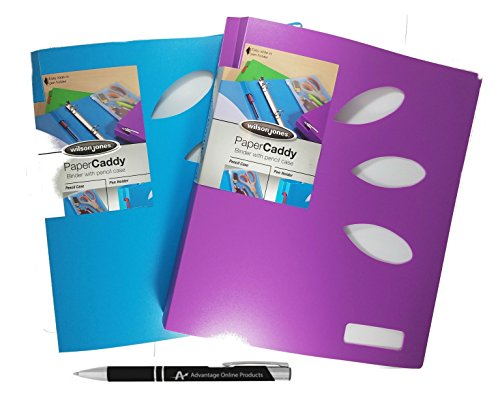 Cheap 2 Pack Wilson Jones Back to School 1 inch Ring Binder with Built In Zipper Pouch and Easy Access Pen Holder, Pack of 2 Binders with Custom Advantage Black and Chrome Retractable Pen (Blue/Purple)