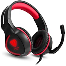 TurnRaise SL-100 3.5mm Game Gaming Headphone Headset Earphone Headband with Microphone LED Light for Laptop Tablet Mobile PhonesMobile phones or PS4 XBOX ONE (Red)