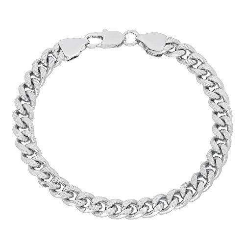 Wide Link Diamond Bracelet (7mm Wide Rhodium Plated Diamond-Cut Grooved Cuban Curb Link Bracelet, 9