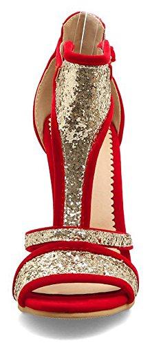Strap Heels Buckle Sandals Aisun Women's Sequined T Stiletto Toe High Peep Red wvpYIz