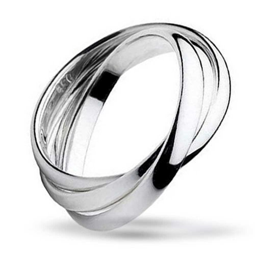 Simple 925 Sterling Silver Dome Rolling Russian Couples Wedding Band Ring For Women For Men ()