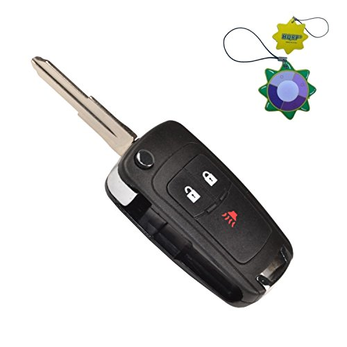 HQRP Remote Flip Folding Key Fob Shell Case Keyless Entry w/ 3 Buttons compatible with Chevrolet Spark 2012 2013 2014 2015 2016 plus HQRP UV Meter
