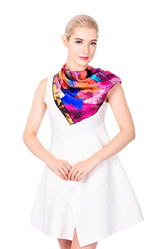Ideal Gift for Women 100% Silk 35'' x 35'' Square Scarf Gift Box Purple Red ($100 Gift Ideas)