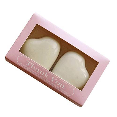 SM SunniMix Ceramic Salt and Pepper Shakers Heart Design with Thank U Gift Box Wedding Souvenir - Pink, 4.5 x 4.5 x 2cm