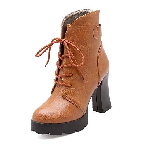 AllhqFashion Damen Oberschenkel Hohe Niedriger Absatz Rein Blend-Materialien Stiefel, Grau, 42