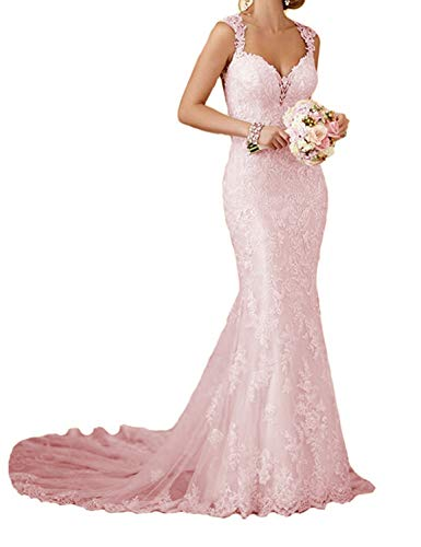 RYANTH Womens Long Lace Wedding Dresses for Bride 2020 Mermaid Sweetheart Bridal Gown R24 Pink 10