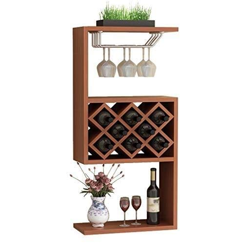 (ALXLX Wall Mount Wine Rack Bottle Holder Champagne Glass Storage Unit Floating Shelves Bar Accessories Shelving)