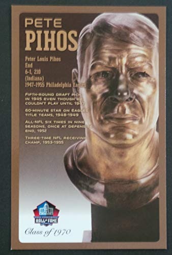 PRO FOOTBALL HALL OF FAME Pete Pihos NFL Bronze Bust Set Card Postcard (Limited Edition #94 of 150)