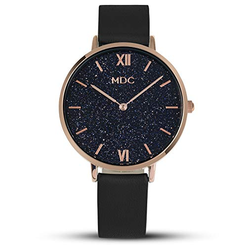 MDC Ladies Womens Minimalist Leather Analog Wrist Watch Wristwatch Watches for Women Ultra Thin Black ()