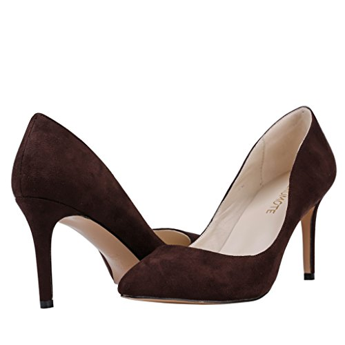 MERUMOTE Womens Y-05041 Pointed Toe Middle Heels Dress Classic Pumps US 5.5-15 Dark Brown-suede T57gdMIa9q
