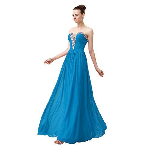 Abito Vestito Da Sweetheart Elegante Promenade Blu Da Besswedding Satin Sera Lungo rIqxwr1Up