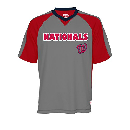 MLB Washington Nationals Men's V-Neck Charcoal Heather Top, Charcoal Heather, XX-Large