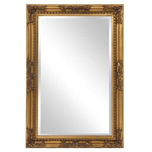 36 Inch Gold Leaf - Howard Elliott Queen Ann Rectangular Hanging Wall Mirror, Beveled, Vanity, Antique Gold Leaf, 24 x 36 Inch