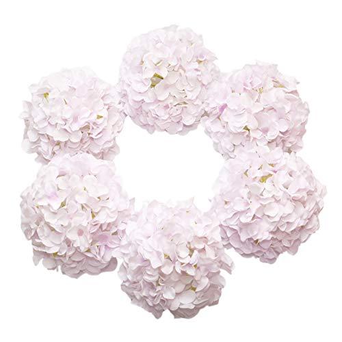 DuHouse Artificial Bigger Silk Hydrangea Flower Heads with Stem Fake Light Purple Hydrangea Flowers for Wedding Home Garden Centerpiece Pack of 6