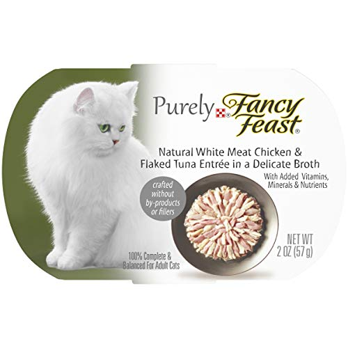 Purina Fancy Feast Natural Grain Free Wet Cat Food, Purely Natural White Meat Chicken & Flaked Tuna Entree – (10) 2 oz. Trays
