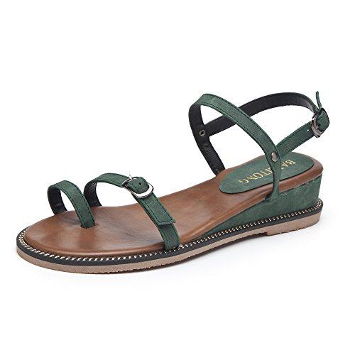 Frauen Toes yalanshop Casual Studenten Sandalen Hundred green Xia 4SpHxB