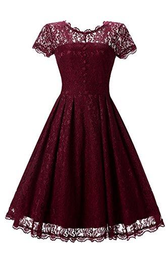 YMING mujeres vestido de encaje con botones de tapa de manga de invitación de la boda Vintage Swing vestido de cóctel a