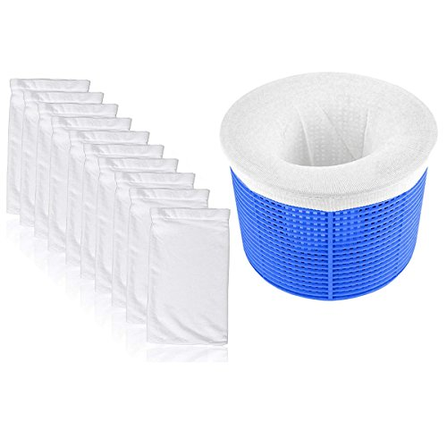 Anelku 10 Pack of Pool Skimmer Socks Fine Mesh Pool Socks, Spa Pre-Filter Savers, Perfect Savers for Filters, Baskets, and Skimmers