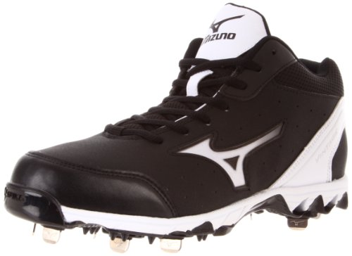 Mizuno Men's 9-Spike Vintage 7 Mid Switch Baseball Shoe,Black/White,10.5 M US