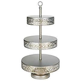 Amalfi Decor Cake Stand Plateau Riser Set of 3 Pack, Mirror Dessert Cupcake Pastry Candy Display Plate for Wedding Event Birthday Party, Round Metal Pedestal Holder, Gold 3 This 3 piece cake stand riser set is perfect to showcase your favorite cakes and desserts at any wedding, birthday party, baby shower, anniversary, quinceanera, and any other event or special occasion Dimensions: The top surface plate diameter from small to large is 8 inches, 10 inches, and 12 inches wide, respectively; they all stand at 2.5 inches tall, and are supported by 3 metal ball legs The design features mirrored surface tops and an ornate hand-crafted steel frame