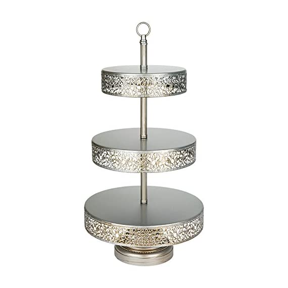 "Amalfi Decor 3 Tier Dessert Cupcake Stand, Large Pastry Candy Cookie Tower Holder Plate for Wedding Event Birthday Party, Round Metal Pedestal Tray 1 Features 3 reversible tiers for desserts, pastries, fruits, and many more Diameter of tray tops are 8"", 10"", and 12"" from top to bottom Each tier can be flipped upside down for storing desserts, fruits, makeup, and etc"