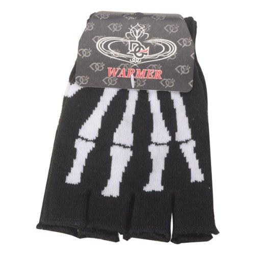 1 Pair Skeleton Bone Fingerless Elastic Knitted Winter Worm Mitten Gloves for Unisex Mens Womens Childrens Teens Boy Girl (White) by W Enterprise