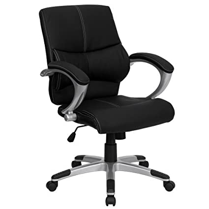 Amazon.com : Silla de oficina H-9637L-2-MID-GG respaldo medio Cuero Negro del Gerente Contemporáneo : Office Products