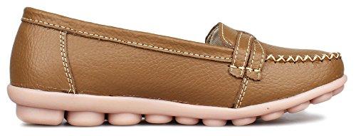 kunsto womens leather loafer shoes slip on us size 75