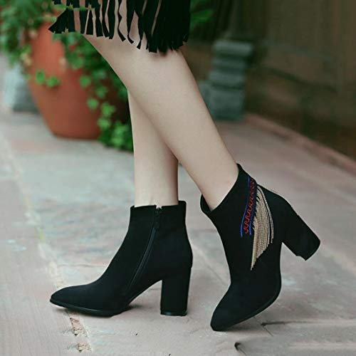 Martin boots Pointed Thick Tassel D Ankle Ankle Boots Bootie Shoes Fall Boots Heel Boots XUE Leather Fashion Women's Boots warm Keep Boots Winter Boots OFngzw