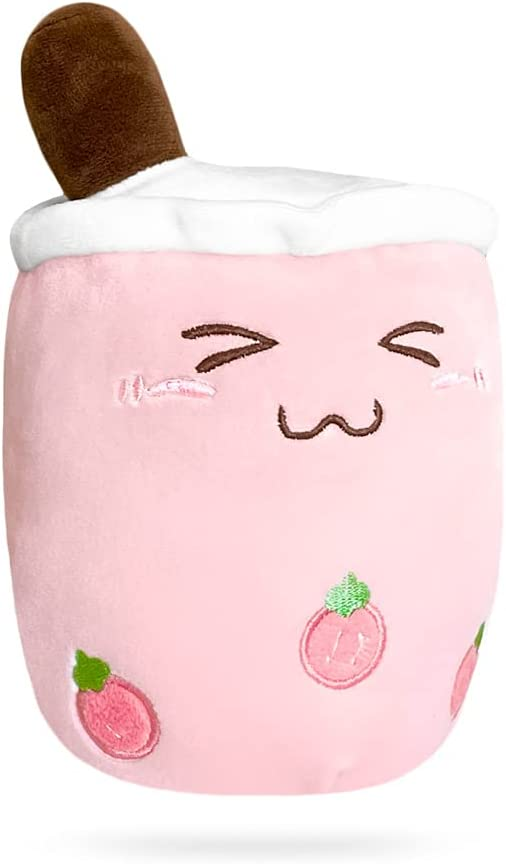 PLUSHERY Boba Plushie, Extra Soft Plush Bubble Tea with Kawaii Excited Face, Strawberry Milk Tea, and Pink Boba (Small, Pink Excited)