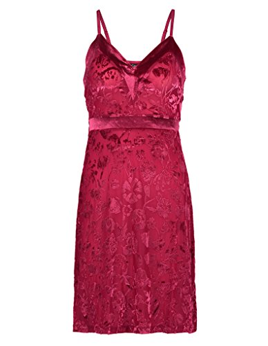 Gl8711 Chemise Slenderella Red Slip Floral Women's Babydoll Raspberry 41POdPqw