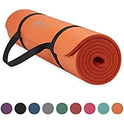 "Gaiam Essentials Thick Yoga Mat Fitness & Exercise Mat with Easy-Cinch Yoga Mat Carrier Strap, Orange, 72""L x 24""W x 2/5 Inch Thick"
