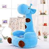 Cartoon Sofa Chair,Pp Cartoon Child Plush Toy Kid Sofa Giraffe Animal Chair seat Bean Bag Toddler Furniture for Girl Boys Gift-Blue 27.5in