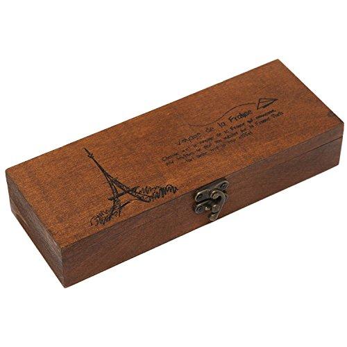 Retro Eiffel Tower Wood Wooden Box Pen Pencil Case Holder Stationery Box Storage