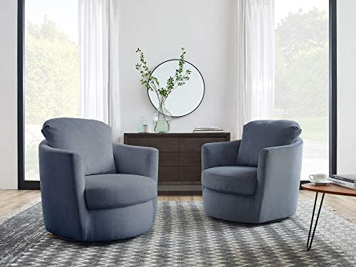 Volans Swivel Chair, Modern Corduroy Fabric Upholstery Barrel Swivel Accent Chair Living Room Sofa Furniture, Set of 2, Stone Blue