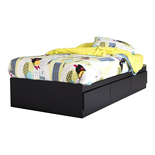 (South Shore 39-Inch Vito Mates Bed with 3 Drawers, Twin, Pure Black)