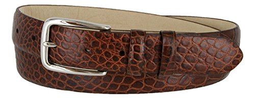Pele Belt Men Genuine Italian Calfskin Smooth Embossed Silvered Buckle,Alligator Brown 34