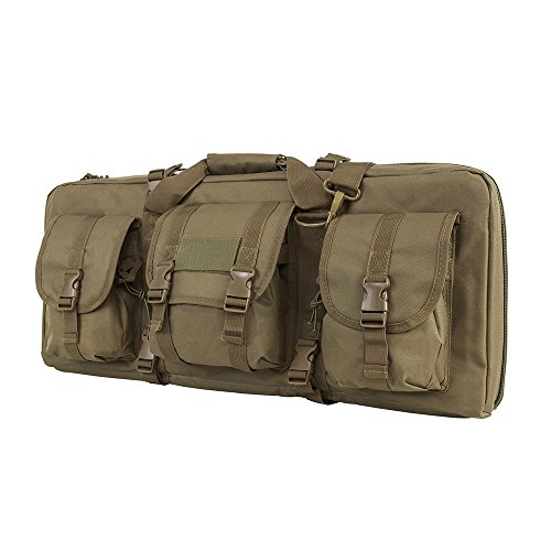 (VISM by NcStar Deluxe Pistol and Subgun Gun Case with 3 Accessory Pockets, Tan, 28