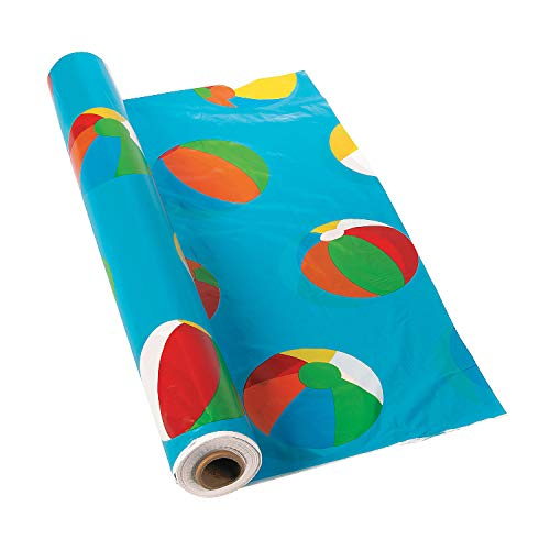 Fun Express - Beach Ball Tablecloth Roll - Party Supplies - Table Covers - Print Table Rolls - 1 Piece