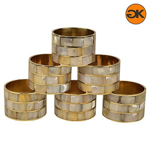 GAURI KOHLI Luxury Mother of Pearl & Brass Napkin Rings | Elegant Design (Set of 6)