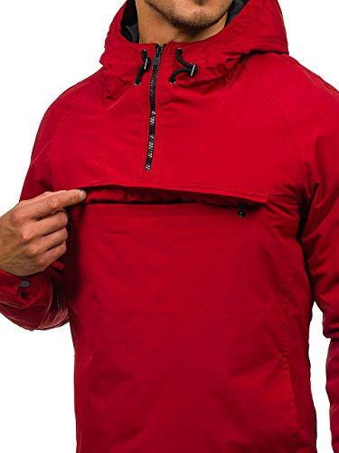 Men's Plain Sport Mix Casual Jacket Quilted Basic Red BOLF Zip Hood Bomber 4226 Transitional 4D4 Ribbed gqwvxCn1td